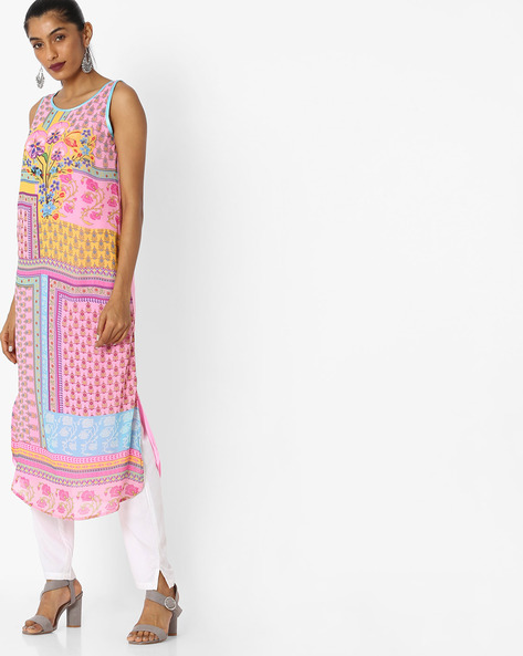 Printed Sleeveless Georgette Dress By Indian Ink ( Pink )