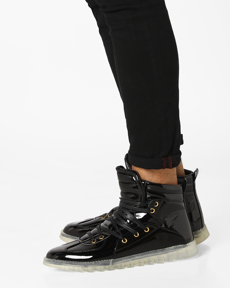 High-Top Lace-Up Sneakers By AJIO ( Black )
