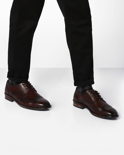 Genuine Leather Derby Shoes With Broguing By TEAKWOOD LEATHERS ( Darkbrown )
