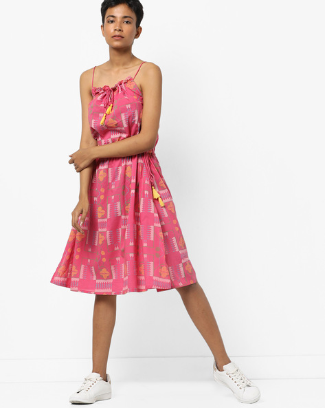 Printed Strappy Dress With Tie-Ups By AJIO ( Pink )