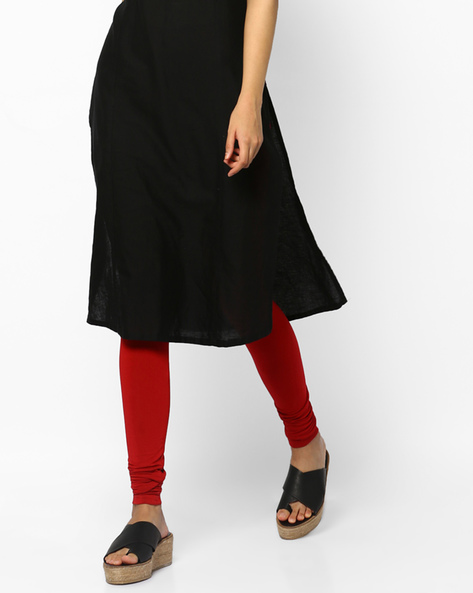 Churidar Leggings With Elasticated Waistband By Project Eve IW Casual ( Red )