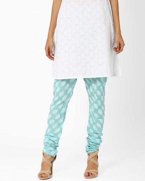 Printed Churidar Pants By AJIO ( Blue )
