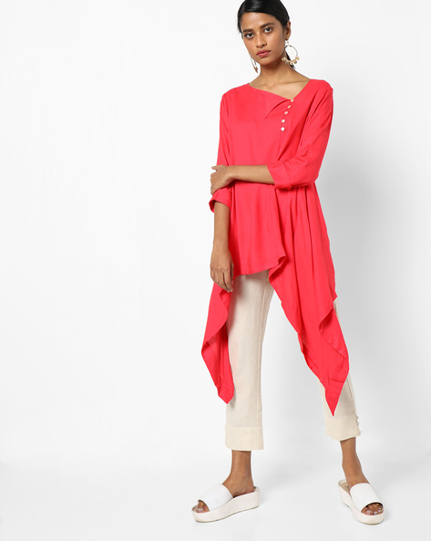 Tunic With Waterfall Hemline By Project Eve IW Casual ( Coral )