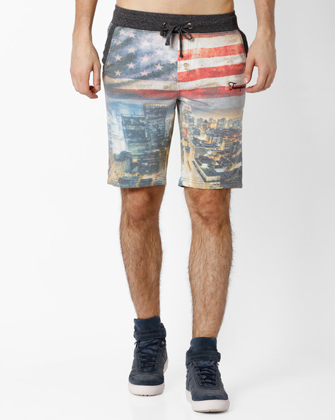 Knitted Shorts With Sublimation Print By TEAM SPIRIT ( Greymelange )
