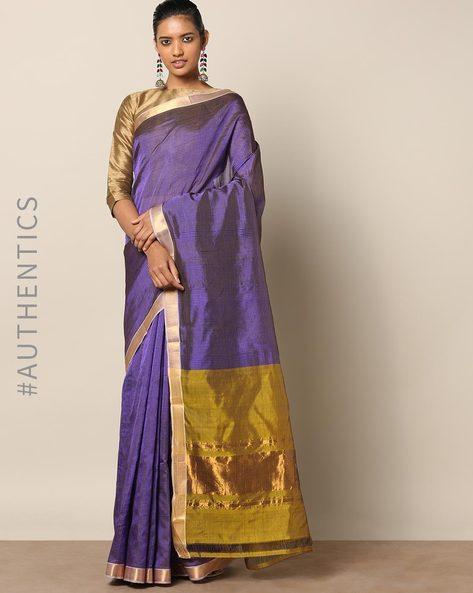 Handloom Mangalgiri Rib Check Cotton Silk Saree By Indie Picks ( Blue )