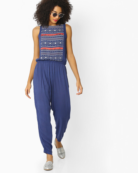 Sleeveless Jumpsuit With Embroidery By Rena Love ( Blue )