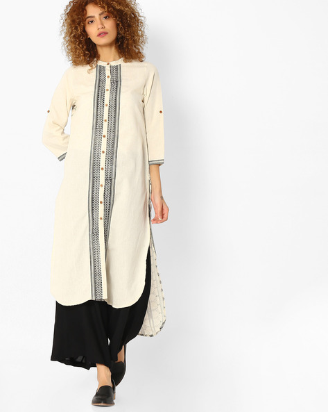 Straight Kurta With High-Low Hem By Melange By Lifestyle ( Offwhite )