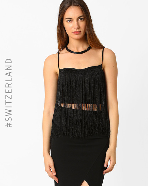 Knitted Top With Fringes By TALLY WEiJL ( Black )