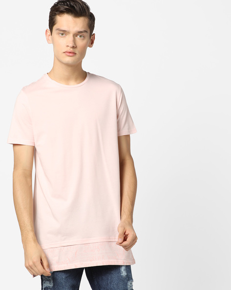 Longline T-shirt With Panelled Printed Hem By AJIO ( Pink )