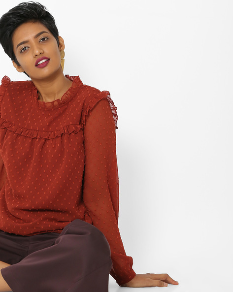Embroidered Top With Ruffled Panels By Only ( Brown )