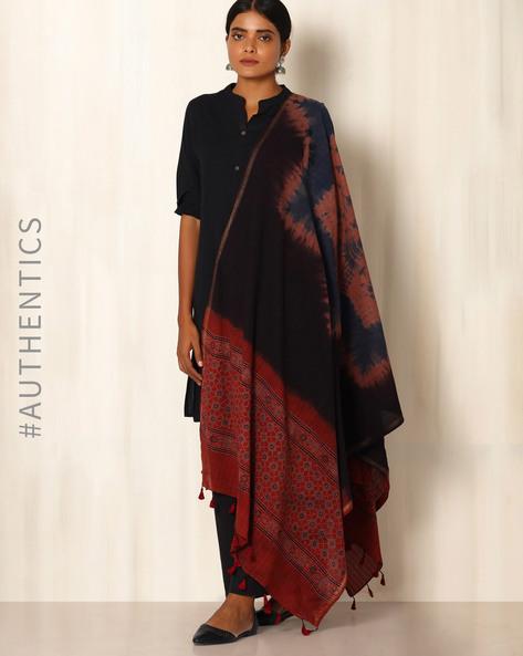 Ajrak Handblock Print Shibori Cotton Dupatta By Indie Picks ( Indigo ) - 460045116001