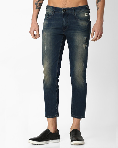 Lightly Washed Distressed Jeans By Pepe Jeans ( Indigo )