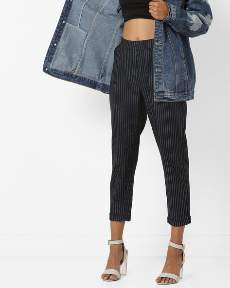Striped Ankle-Length Trousers By AJIO ( Navy )