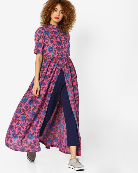 Floral Print Kurta With Front Slit By Sassafras ( Pink )