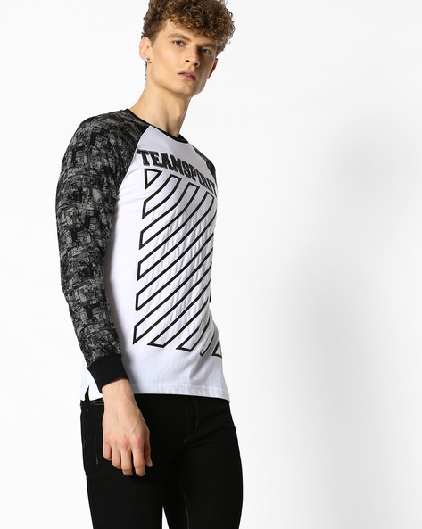 Graphic Print T-shirt With Raglan Sleeves By Teamspirit ( White )