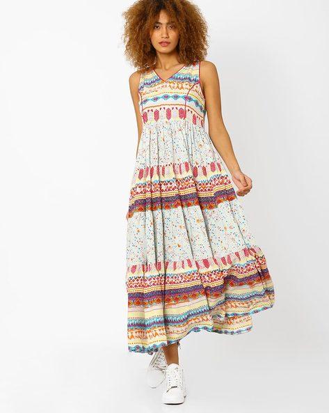 Printed Tiered Dress By AJIO ( Aqua )