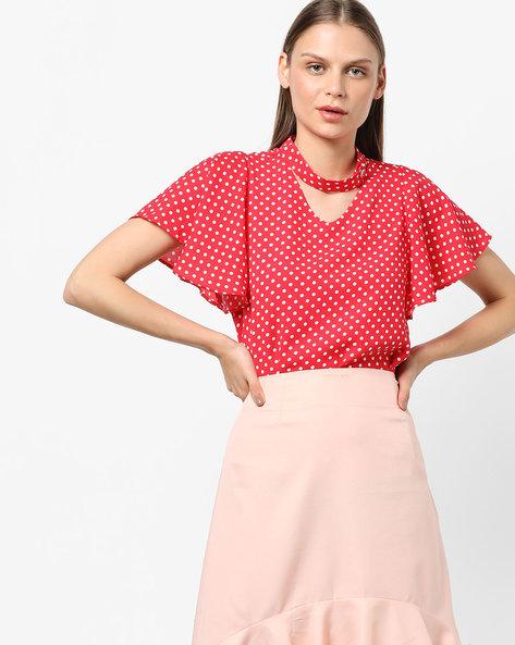 Polka-Dot Top With Choker Neckline By AJIO ( Pink )