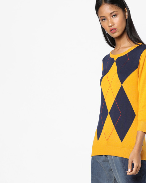 Cotton Pullover With Argyle Pattern By UNITED COLORS OF BENETTON ( Multi )