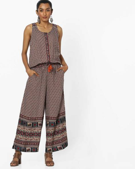 Printed Jumpsuit With Racerback By COLOUR ME ( Red )