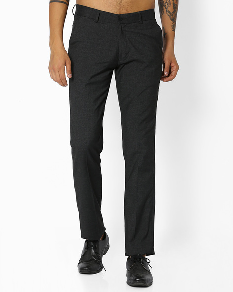 Flat-Front Trousers By NETWORK ( Charcoal )