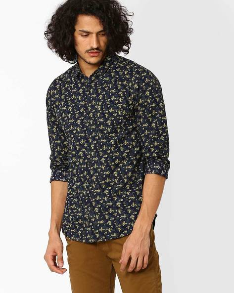 Floral Print Slim Fit Shirt By SPYKAR ( Navy )