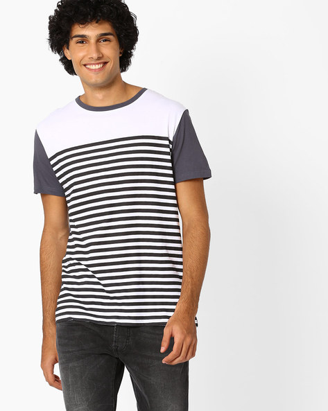 Striped Slim Fit T-shirt By Blue Saint ( Maroon )