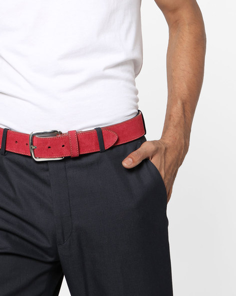 Genuine Leather Belt With Buckle Closure By AJIO ( Red )