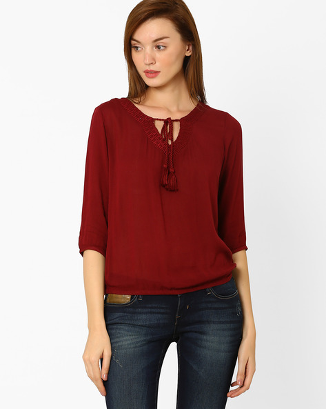 Top With Tassel Tie-Up By FIG ( Maroonburg )
