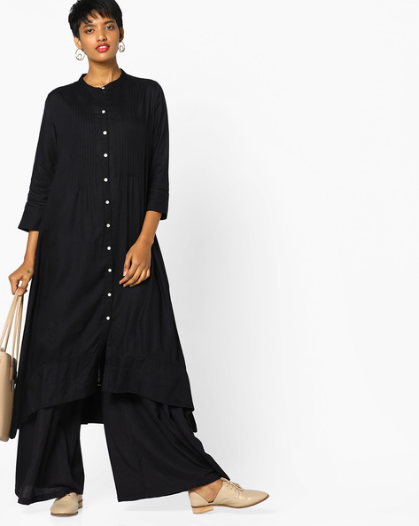 A-line Kurta With Asymmetric Hemline By PE IW Casual ( Black )