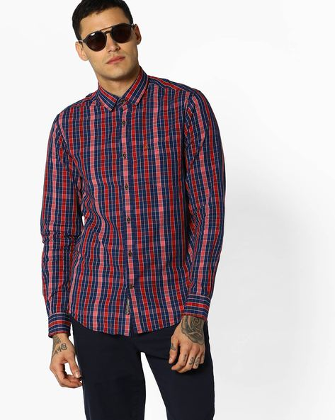 Checked Slim Fit Shirt By The Indian Garage Co ( Maroon )