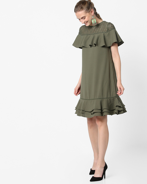 Ruffled Dress With Lace Yoke By Femella ( Olive )