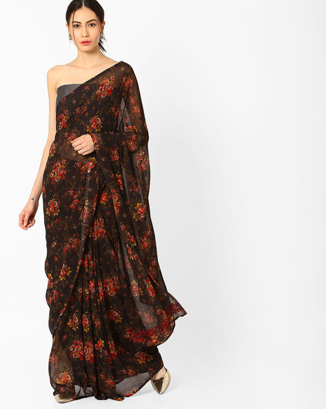 Printed Saree With Embroidered Blouse Piece By AJIO ( Black )