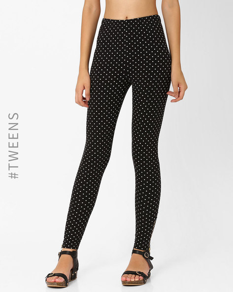 Polka-Dot Print Leggings By AJIO Girl ( Black )