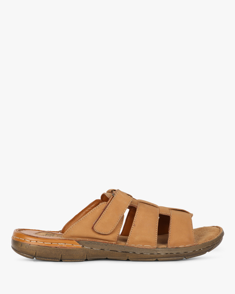 Strappy Flip-Flops With Velcro Fastening By RED CHIEF ( Brown )