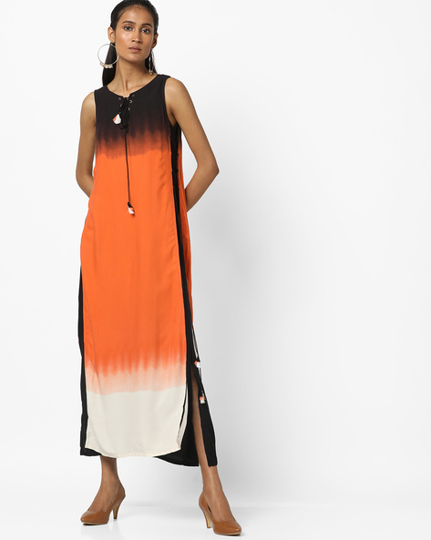 Sleeveless Maxi Dress With Dyed Effect By Global Desi ( Orange )
