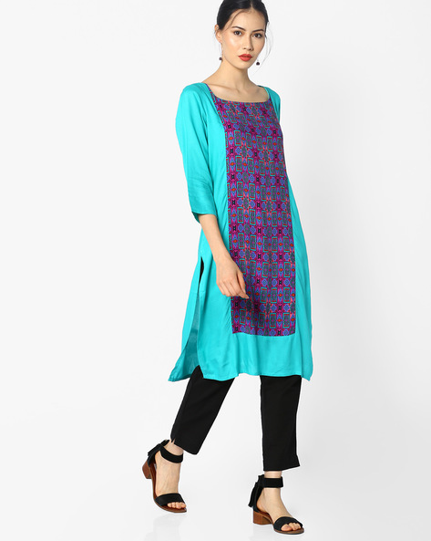 Straight Kurta With Printed Panel By Melange By Lifestyle ( Turqouise )