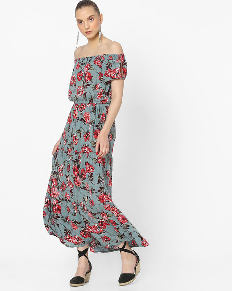 Floral Print Off-Shoulder Maxi Dress By Rena Love ( Multi )