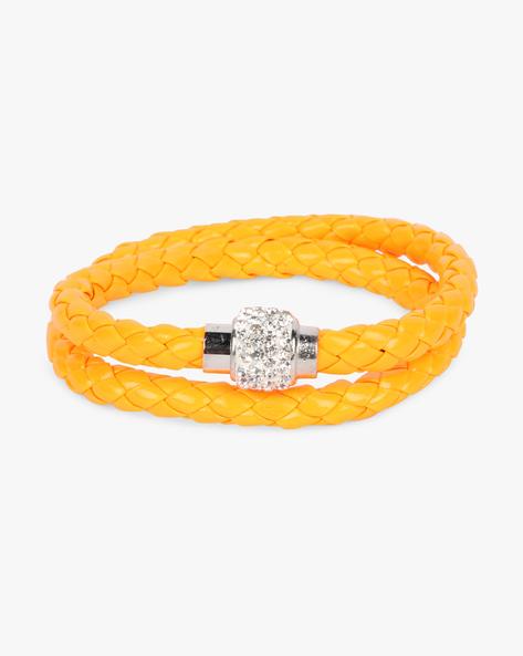 Braided Bracelet With Stone Embellishments By ALPHA MAN ( Orange )