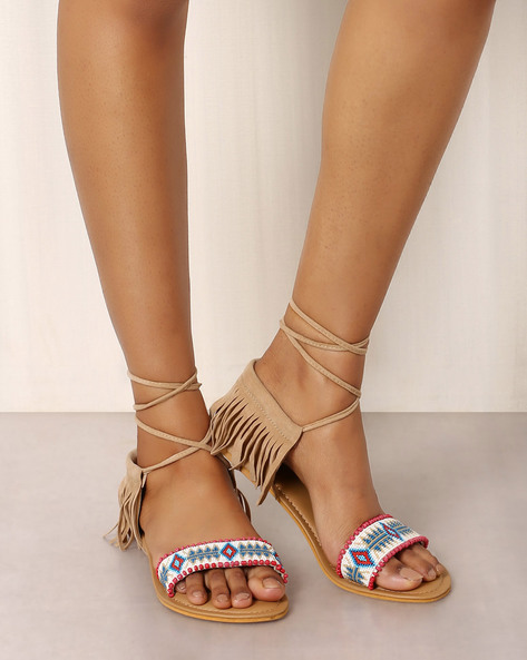 Beaded Sandals With Fringes By Indie Picks ( Brown )