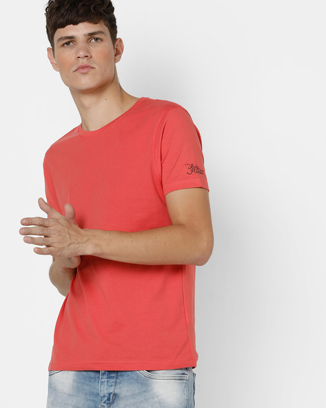 Crew-Neck T-shirt With Signature Branding By FLYING MACHINE ( Coral )