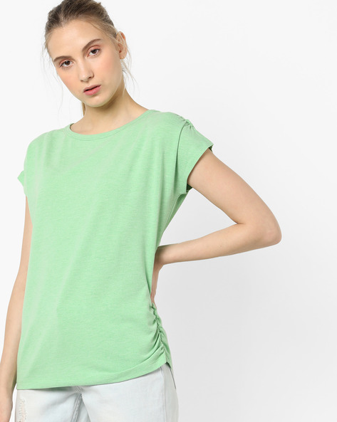Crew-Neck Top With Ruching By AJIO ( Seagreen )