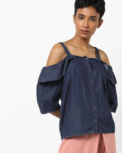 Off-Shoulder Shirt With Overlay Panel By AJIO ( Darkblue )