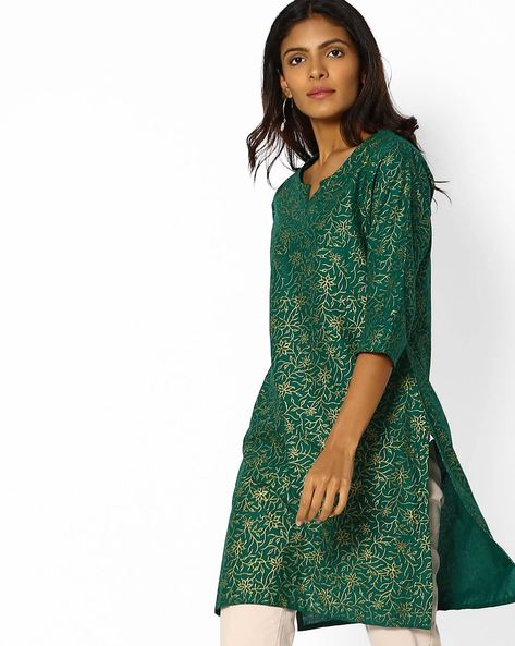 Floral Print Kurta With Side Slits By Shree ( Green )