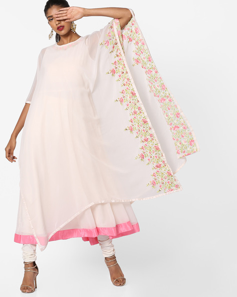 Cape-Style Jacket With Floral Embroidery By AJIO ( Ivory )