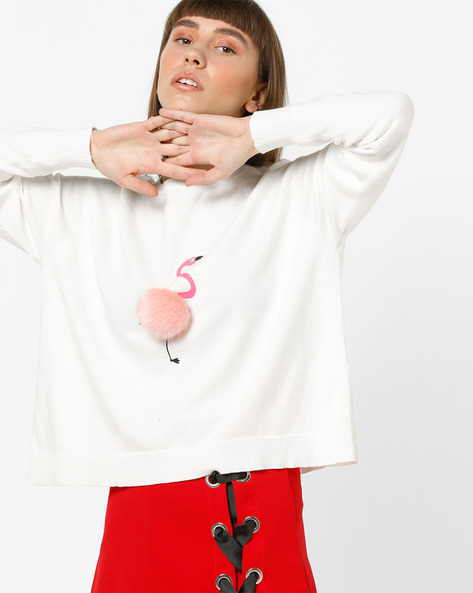 Printed Pullover With Ribbed Hems By Only ( White )