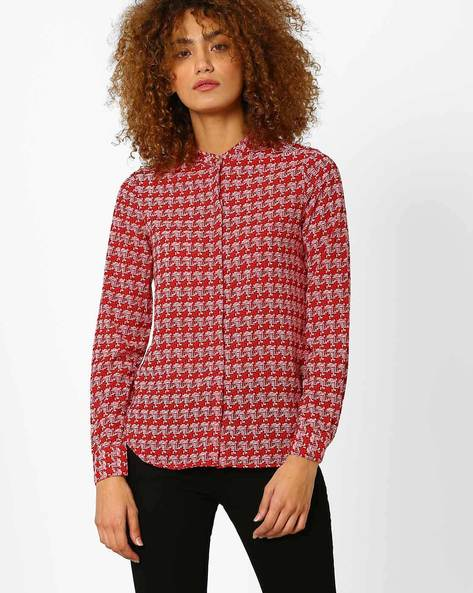 Geometric Print Shirt Top By Annabelle By Pantaloons ( Red )