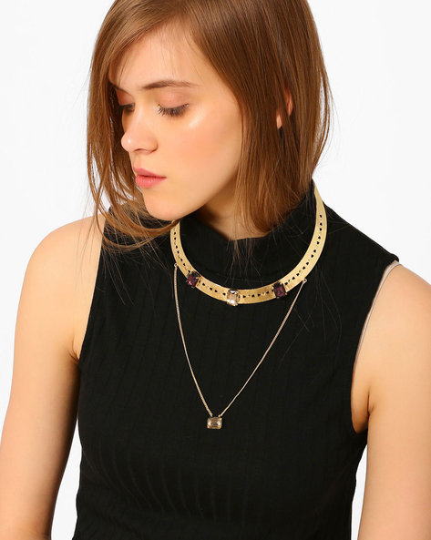 Brass Necklace With Rhinestones By Ssoul ( Gold )