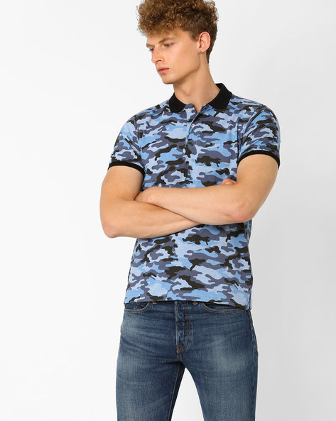 Camouflage Print Pique Polo T-shirt By Garcon ( Blue )