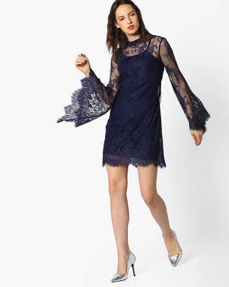 High-Neck Lace Sheath Dress By AJIO ( Navyblue )