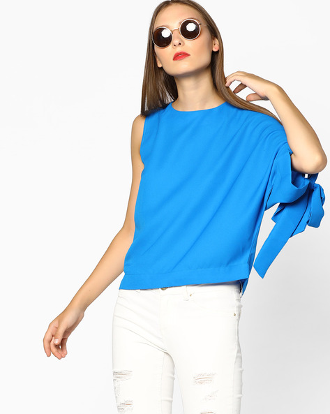 Boxy Top With Asymmetric Sleeves By AJIO ( Blue )